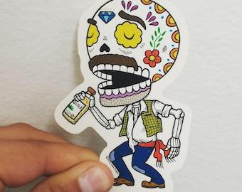 El Borracho Calavera Clear Vinyl Sticker Day of the Dead