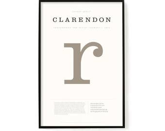 """Clarendon Poster, Screen Printed, Archival Quality, Wall Art, Poster, Designer Gift, Typography Print, 24"""" x 36"""""""