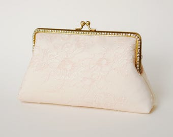 Blush Chantilly Bridal Clutch / Bridesmaid Clutch Purse / Personalized Clutch / Wedding Lace Clutch
