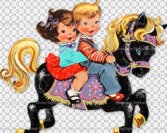 Vintage Children Girl Boy Carousel Horse Clipart Transparent Png Digital Images Instant Download