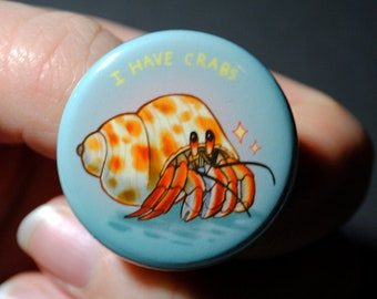 Hermit crab 1.25 inch button
