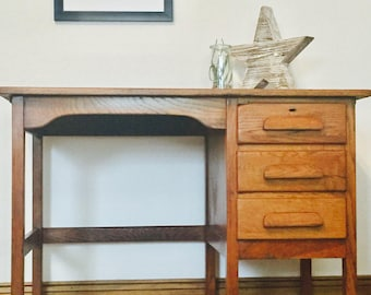 SOLD Retro solid oak children's desk. Vintage, mid century nursery desk. School desk.
