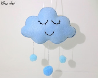 "Blue rain drop ""Cloud and tassels"" hanging"