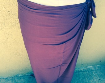 New color, plum Pareo-solid color-full sized-rayon- sarong-half sized, mini, pareau, blue, wrap. Tahitian pareo 100 percent rayon