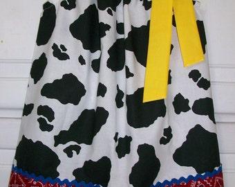 Jessie Dress Pillowcase Dress Toy Story Dress with Cow Western Party Dress with Bandana baby dress toddler dress girls dress Farm Dress