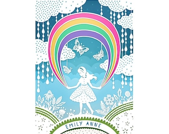 Personalized Print - 8x10 - Rainbow - Original Papercut Illustration - Customized with Your Name