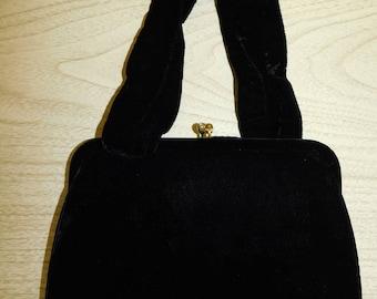 50s Black Velvet Fringed evening bag clutch rhinestone closure Bobbie Jerome Handbag Purse