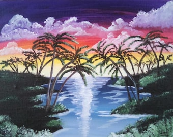 Ocean Sunset Tahiti Island Palm Trees landscape