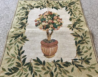 Vintage tapestry wall hanging, Gift for her, embroidery floral tree wall hanging - made in Belgium - 1980's