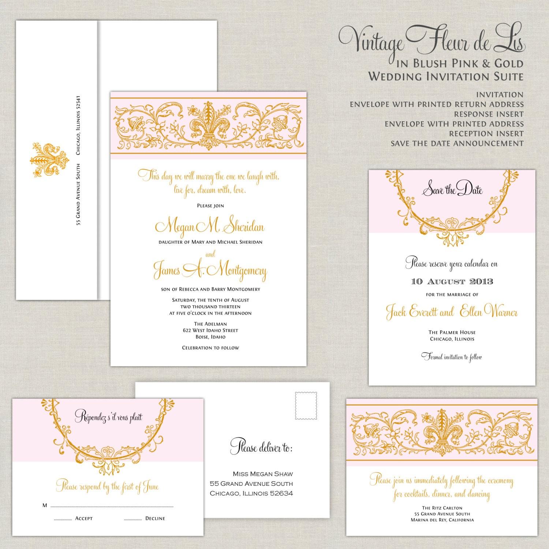 Fleur de Lis Wedding Invitations Blush and Gold Wedding