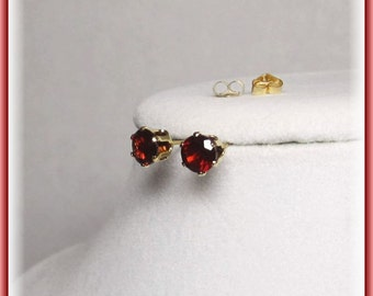 Genuine Garnet Studs Natural Almandite Earrings Gemstone Jewelry for Her - Gifts for Women