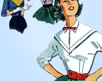 1950s Vintage Simplicity Sewing Pattern 4373 Misses Blouse w Bias Yoke Sz 12 30B