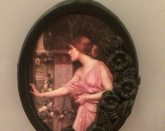 Psyche in Cupid's garden by John William Waterhouse Pre Raphaelite vintage picture frame magnet! Perfect stocking filler for the art lover!