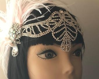 Gatsby headpiece/1920s headpiece/flapper headpiece/Bridal headpiece/Rhinestone headpiece/Wedding accessories/Ostrich/hair accessories/Fiona