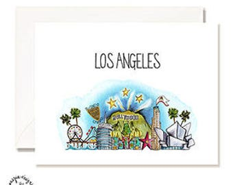 Los Angeles - LA - Illustration Card - Set of 10 - A2 Blank