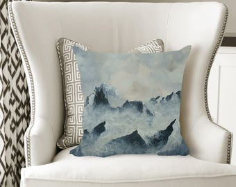 Misty Mountains Decorative Pillow, Soft Velveteen Nature Decor printed from Original Art - multiple sizes