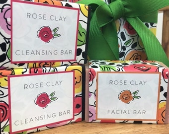 Rose Clay Facial Bar with Goat Milk and healing essential oils