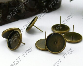 10pcs Antique Solid Brass Earring Posts With Round 10mm Pad
