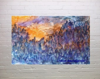 DAWN, blank card inside, from original painting, write your own msg, mountainous landscape, sunrise, ET, Harry Potter, blue, purple, orange
