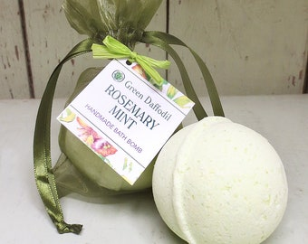 Rosemary Mint Bath Bomb Natural Handmade Essential Oils- Green Daffodil