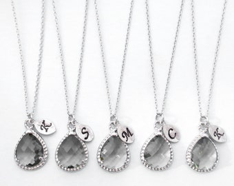 Set of 1-4, Personalized, Letter, Initial, Charcoal, Gray, Stone, Silver, Necklace, Sets, Color, Wedding, Bridesmaid, Bridal, Gift, Jewelry