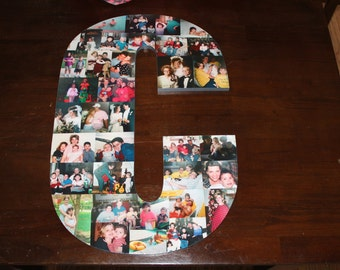 """Birthday Gift, Home Decor, 24"""" Wooden Letter, Personalized Initial, Wall Hanging Photo Collage"""