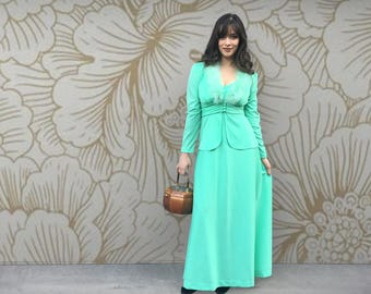 Vintage 1960's Two Piece Mint Green Evening Dress and Feather Trim Jacket