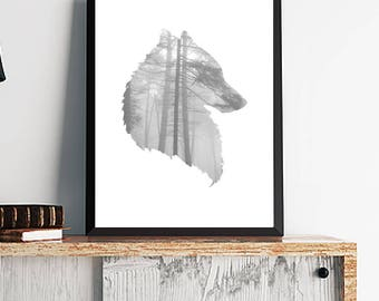Wolf Silhouette Print Poster, Modern Wall Art, Wild Animal Wall Art, Grey Wolf And Trees Poster, Wolf Wall Art, Wolf Print, Wolf Poster