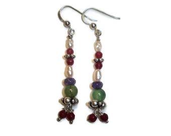 Pendant earrings, multicolor earrings, boho earrings, silver earrings, long earrings, natural stone earrings, beaded earrings.