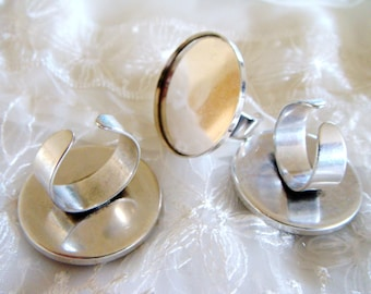 Ring Base, Adjustable Finger Ring Round Bezel Cup, Brass Ring Round Setting 30mm - 1pieces