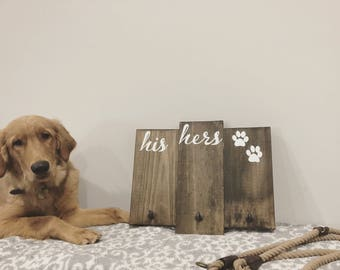 His Hers Paws Key And Leash Holder / Wall Sign / Wall Decor / Leash Holder