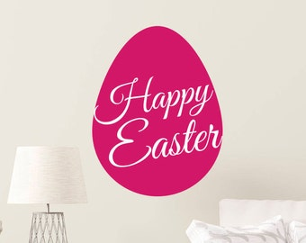 Happy Easter Pink Egg Wall Quote