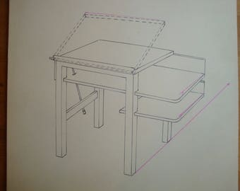 Architect's Drafting Table, Mid-Century Modern Pen & Ink Drawing