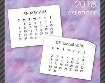 2018 Calendar Clip Art in Sans Serif Font