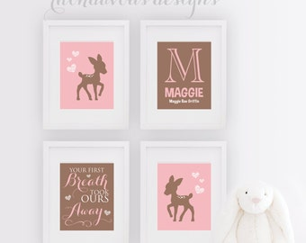 Deer Nursery Art - Deer Nursery Decor - Deer Nursery - Girl Nursery Art - Girl Nursery Decor - Baby Girl Nursery Prints - Baby Girl - NS-769