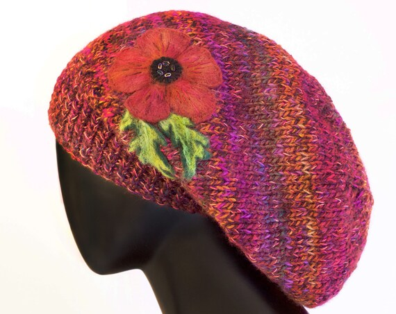 Poppy Red Slouch Hat - Red Poppies Slouchy Hat with Poppy Flower Design - Elegant Winter Hat - Perfect Christmas Gift for Her - Red Hat
