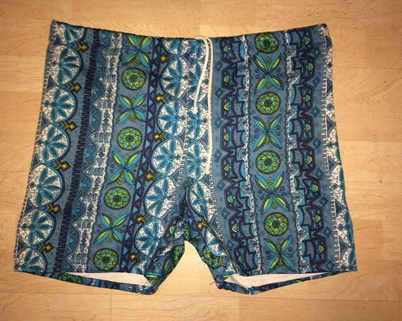 1960s Swim Trunks / L / 36 - 37 / Nylon / Surfer / Mod Tapa / Hawaiian / 60s Swim Trunks / Vintage 1960s Mens Clothing / Tiki / Beach / VLV 4dRyqr