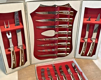 19 Piece Sheffield English Stainless Steel Knives Set, with Original Box