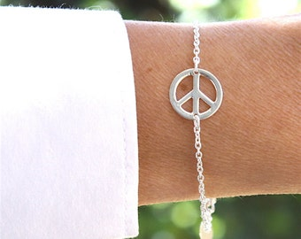 sterling silver bracelet 925 peace and love