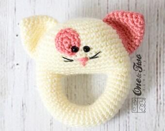 Little Cat Rattle  - PDF Crochet Pattern -  Instant Download - Animal Rattle Crochet Nursery Baby  Shower