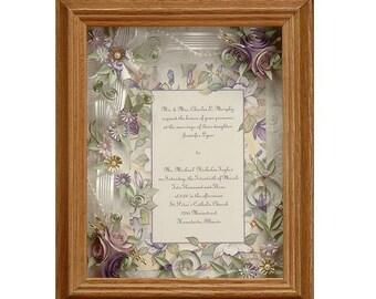 Framed Wedding Invitation. Spring Wedding, Lavender Wedding, Purple wedding, anniversary gift, Wedding Keepsake, Shower Gift, Shadow Box
