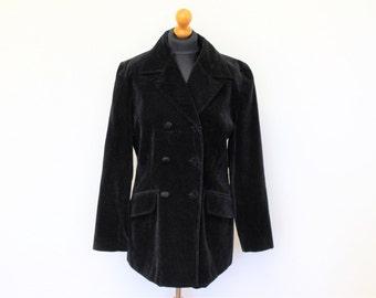 Black Velveteen Jacket  Black Velvet  Blazer Women's Long Velvet Jacket / Black velvet Coat  Medium to Large