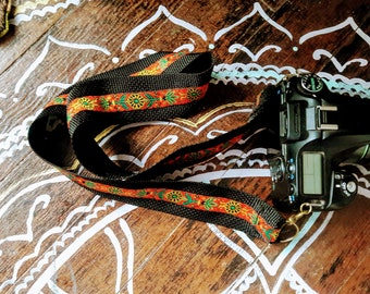 SALE Boho tribal camera strap with orange