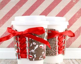 Corset Coffee Cup Cozy // Sock Monkey Family Reunion Cup Cozy // reversible // adjustable // cold drink cozy // fabric coffee cozy