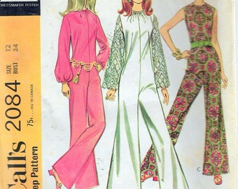 """Vintage 1969 McCall's 2084 Mod Pantdress in Three Versions Sewing Pattern Size 12 Bust 34"""""""