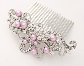 Light Purple Hair Comb Prom Bridal Sweet 16 Hairpiece Lavender Wedding Hair Combs Headpiece Jewelry Accessory