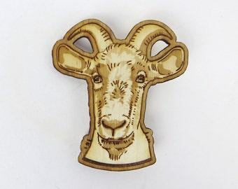 Goat brooch, goat pin, goat gift, farm animal pin, goat valentine gift, animal lover gift, birch wood, laser cut pin