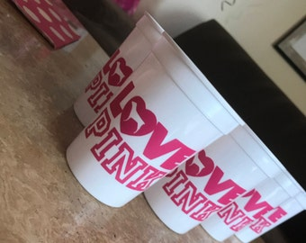PINK inspired cups - Pink on White (12)