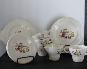 Vintage Mary had a Little Lamb Doll/Child's Tea Set - 15 pieces - 1940s - Nursery Rhyme Miniature Dishes