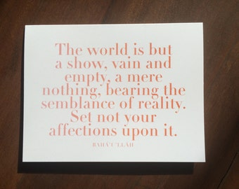 Printable | Baha'u'llah | The World is but a Show | Inspirational Quote Card | Digital File | INSTANT DOWNLOAD